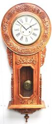 Massive Rare Vintage Carved Walnut 8-day Drop Dial Striking Wall Clock 1990 Asia