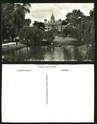 Cambridge Old Postcard St Johns College New Court Boats