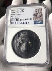 Ngc Pf70 2020 10 Palau Black Panther Obsidian Finish Silver Coin
