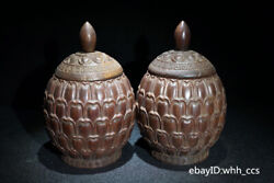 6 China Collection Flower Pear Wood Old Carved Lotus Tea Caddy Pair