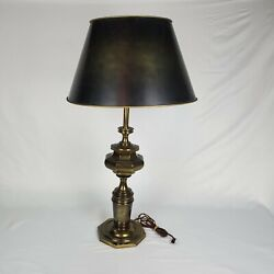 Stiffel Brass Urn Table Lamp Paul Hanson Painted Metal Tole Shade Included 33.5