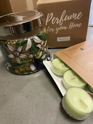 Partylite 3wick Jar Candle AND 1 Doz Tealights CUCUMBER CLEMENTINE