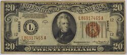 1934 20 Hawaii Emergency Issue Federal Reserve Note - Original Circulated -
