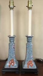 """Pair Of Vintage Majolica Bedside Or Buffet Candlestick Lamps. 15"""" High."""