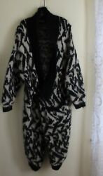 Estate Hand-woven Mohair Amazing Long Abstract Cardigan Sweater Jacket Xs S M