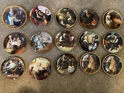 Lot Of 15 Norman Rockwell Plates Knowles Bradford Exchange - See Description