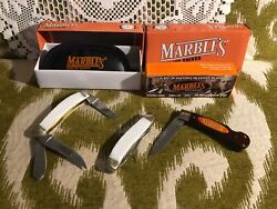 Marbles Quality Knives White Triple Blade And Single Pocket Knives Lot Of 3