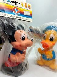 Vintage 1960's 6 Mickey Mouse And Donald Duck Squeeky Toy Collector Lot