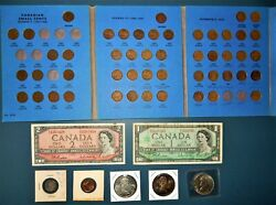 Canada Coin And Currency Collection Small Cents Dollar Coins Various.