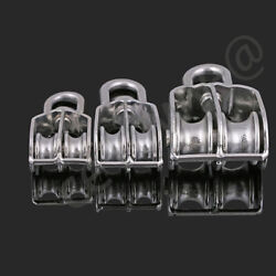 Block Double Sheave Swivel Eye Rope Pulley Block Wheel Stainless A2