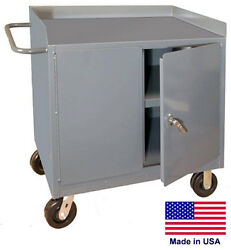 Cabinet Cart Portable - Commercial - Locking Doors And Worktop - 38h X 36w X 24d