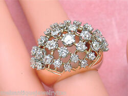 Vintage Retro 2ctw Old Mine Diamond Pink 18k Wide Band Convex Cocktail Ring 1940