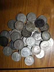 Mixed Date Roll Of 42 Canada Silver Quarters Mostly From 1940and039s