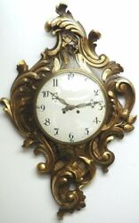 Antique French Carved Cartel Wall Clock 8 Day Movement Scrolling Leaf Design