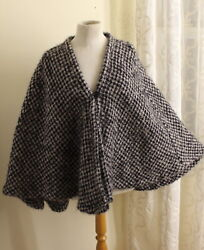 Estate Art-to-wear Hand-woven Tweed Mohair Fluffy Cape O/s S M L Xl