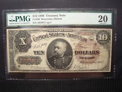 1890 10 Treasury Coin Note Fr366 Pmg 20