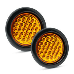 Pair Of Pro Led St40a 4 Round Amber Strobe Lights - Replaces Buyers Sl40ar