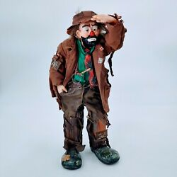 Emmett Kelly Jr Flambro Clown Figurine 10 Looking Out To See 2 Real Rags. Rare