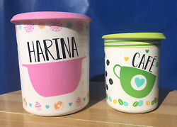 Tupperware One Touch Canisters Set Of 2 Harina Cafe Spanish 1.3l3.1l Acnewandnbsp