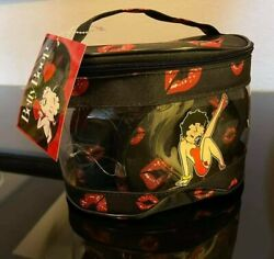 Betty Boop Black And Red Kiss Lips 3 Pc Beauty Oval Shape Tote Bag
