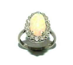 Ladies 18ct White Gold And Platinum Antique Ring Set With An Opal + Diamonds