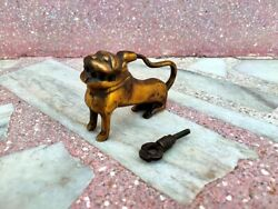 Old Brass Lion Carved Lock Hand Crafted Unique Padlock Strip System Lock