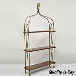 French Style Wrought Iron And Wood Shelf Wall Mount Shelf Curio Display Cabinet