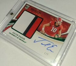 2020 Panini Immaculate 1/1 Jacob Eason Rc 3 Color Patch On Card Autograph 1/5