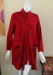 Ic Connie K -sz M Ruffled Long French Fabulous Jacket Art-to-wear Lux Details