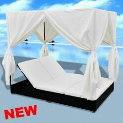 Rattan Garden Daybed Reclining Outdoor Bed Canopy Sun Shade Lounger Furniture