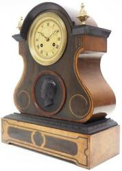 Antique French Empire 8-day Striking Mantel Clock Walnut And Rosewood Case 1840