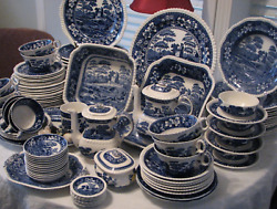 Spode England Blue Tower Copeland 1814, Floral Bridge/castle China Replacements