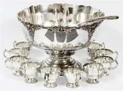Grande Baroque By Wallace Silver Plate Large Punch Bowl With Ladle And 12 Cups