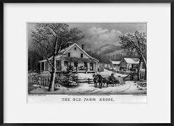 Photo Old Farm House, C1872, Currier And Ives, Photo, Horses, Sled, Cows, Fence,