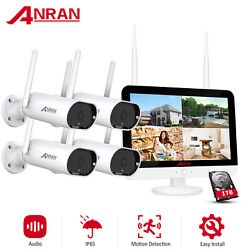 """8ch 3mp Hd Security Camera System Wireless Outdoor With 12"""" Monitor Wifi Nvr 1tb"""