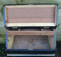 Vintage Large Wooden Toolbox Chest And Tray Carpenters Storage Trunk Toy Box