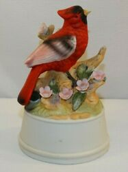 Vintage Music Box Cardinal Pink Flowers Plays I Could Have Danced All Night