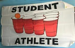 Student Athlete Funny Gag College dorm banner Beer Pong 3#x27; x 5#x27; Banner