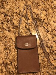 COACH North South Cossbody Phone Bag Crossgrain Brown Leather F37543 $38.00