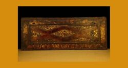 Amazing Great 16th Century Old Antique Tibet Gilt Carved Wooden Sutra Cover 28
