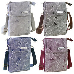 Fashion Canvas Women Small Bags Crossbody Cell Phone Purse Wallet Leaves Pattern $10.99