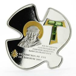 Cook Islands 5 Dollars Faith Series Pope Visit In Assisi Silver Coin 2007