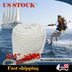 3 Strand Twisted Boat Marine Mooring Anchor Cord Dock Line Rope 3/4x150ft White