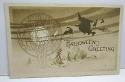 Halloween Postcard Gibson Witch Tree Of Life Black Cat Gothic 1910 Vintage Wv