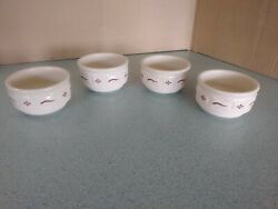 Longaberger Usa Pottery Set Of Four Custard Cups In Traditional Red New No Box
