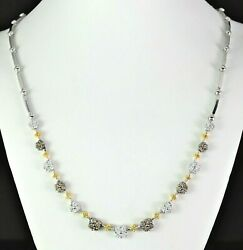 7,250 18k Solid White Gold Round Yellow Brown Cluster Diamond 17'' Necklace