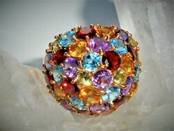 Fine Vintage 14k Gold Signed Mo Modena Multi Sapphire Cluster Dome Ring