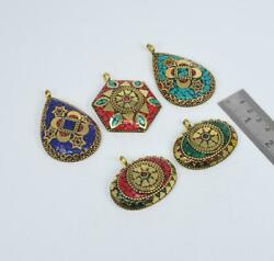 Wholesale 5pc 925 Tibetan Brass Turquoise Red Coral Mix Stone Pendant Lot 1 W749