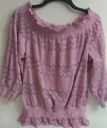 Venus Off the Shoulder Women#x27;s Pink Scalloped Hem and Cutouts Size Large $17.95