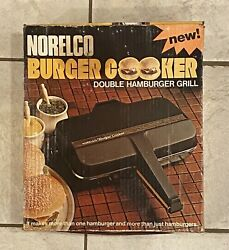 Vintage Norelco Burger Cooker Double Hamburger Grill 1976 Does Work